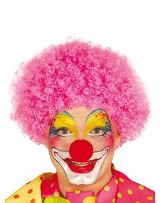 Roze clown pruik voor mannen
