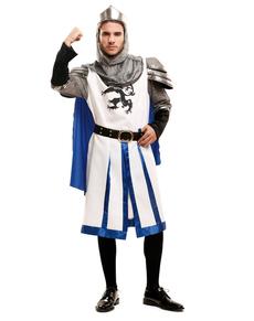 Kostuum middeleeuwse ridder in wit voor mannen
